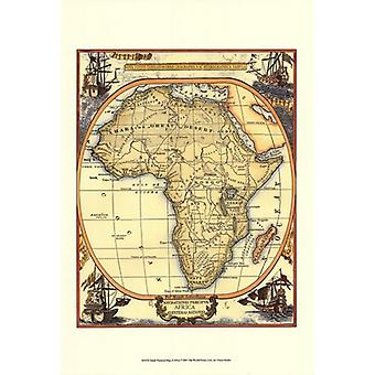 Small Nautical Map Of Africa Poster Print (13 x 19)