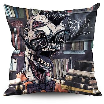 Geek Brain Creepy Zombie Linen Cushion Geek Brain Creepy Zombie | Wellcoda