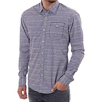 Scotch & Soda Printed Acid Washed Ls Shirt