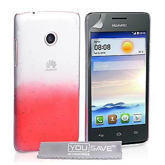 Yousave Accessories Huawei Ascend Y330 Raindrop Hard Case - Red-Clear
