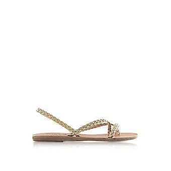 Ancient Greek Sandals ladies YIANNAPLATINUM gold leather sandals
