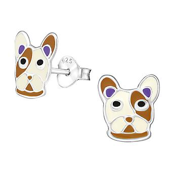 Dog - 925 Sterling Silver Colourful Ear Studs