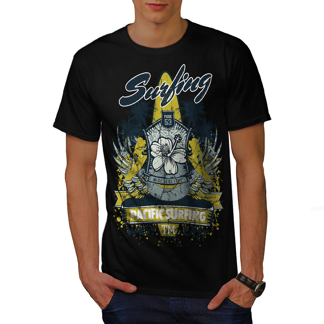 Pacific Surfing Holiday Men Black T-shirt | Wellcoda
