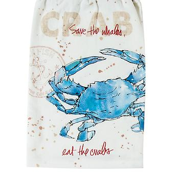 Blue Crab Save The Whales Eat the Crabs Krinkle Kitchen Flour Sack Towel