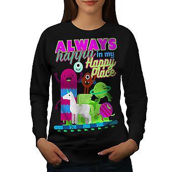 Always Happy Cute Women BlackSweatshirt   Wellcoda