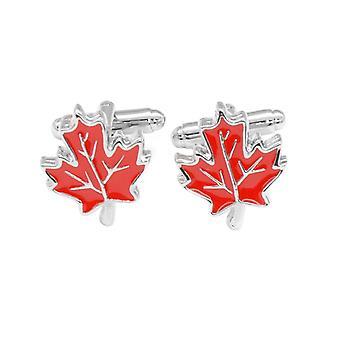 Silver-Tone Men's Cuff Links Maple Leaf Design Mens Cufflinks