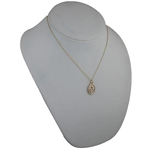 9ct Gold 21x15mm oval St Ann Pendant with a belcher Chain 18 inches