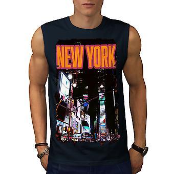 New York natt liv USA män NavySleeveless T-shirt | Wellcoda