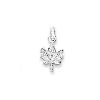 925 Sterling Silver 3-D Maple Leaf Charm Pendant - 17mm