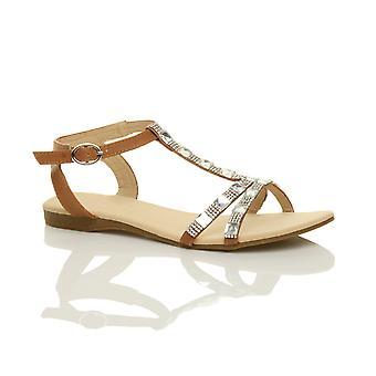 Ajvani womens platt låg klack t-bar diamante pärlor ankel rem sommar sandaler skor