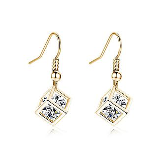 Womens Gold Cube Earrings With Crystal Stone Unique