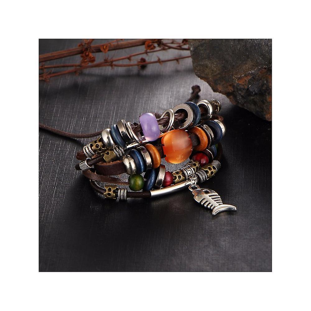Bracelet Homme Multi rangs en Cuir Marron Perles, Poisson et Acier Inoxydable