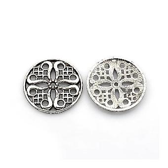 Packet 10 x Antique Silver Tibetan 24mm Flat Round Spacer Beads HA17940