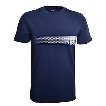 Hugo Boss Leisure Wear Hugo Boss Men's Slim Fit Navy Blue Printed T-Shirt