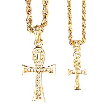 Iced Out Bling Mini Ketten Anhänger Set - 2 x Kreuz gold