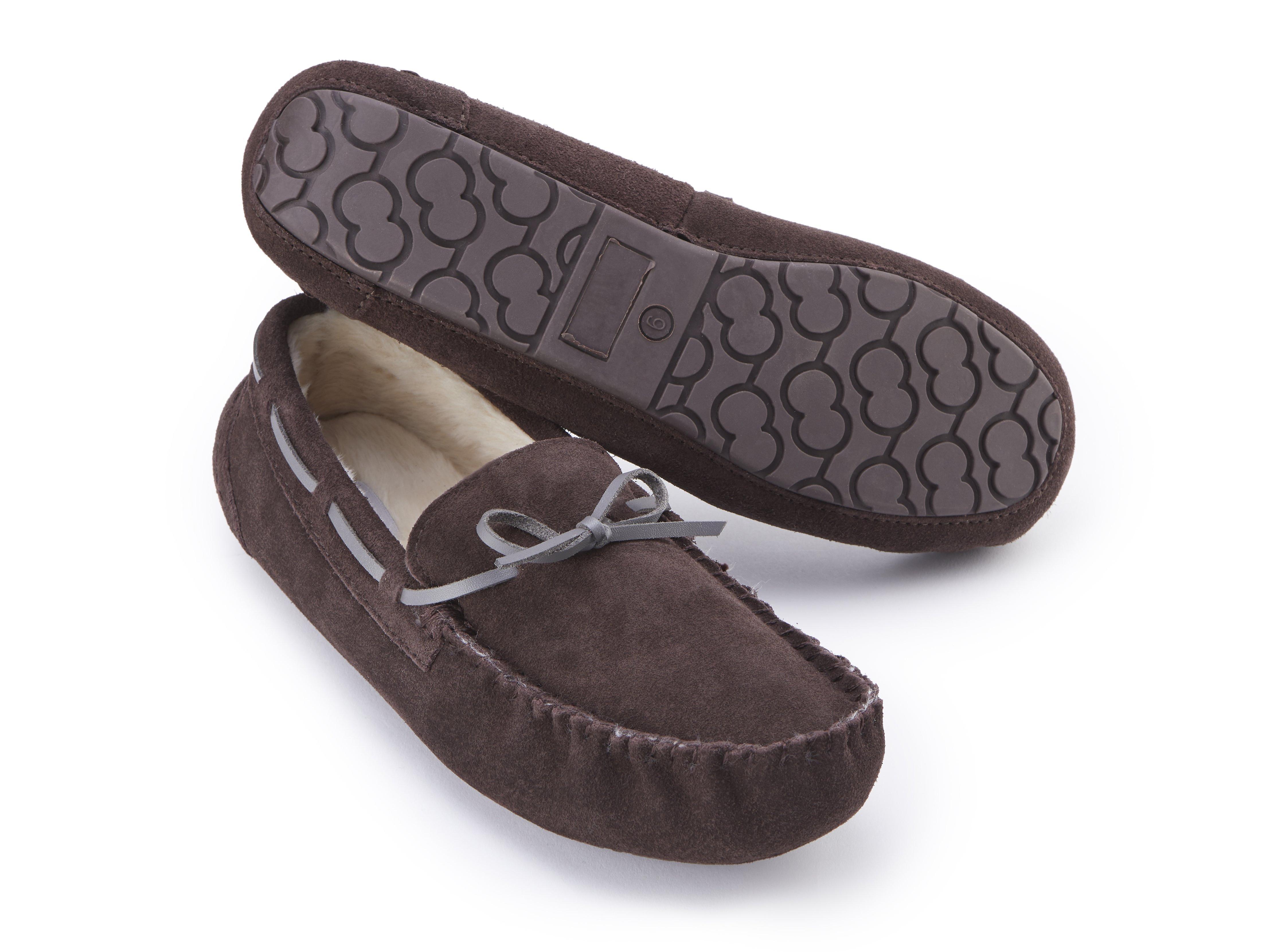 Suede Faux Moccasin Premium Fur Men's Brown Slipper Lined RqEwa