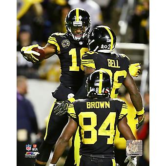 JuJu Smith-Schuster LeVeon Bell & Antonio Brown 2017 Action Photo Print