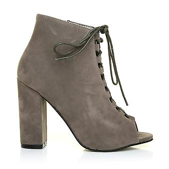 GRETA Khaki Faux Suede Block Heel Peep Toe Lace Up Ankle Boots