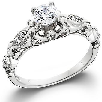 1 / 2ct Vintage diamante anello di fidanzamento 14k White Gold