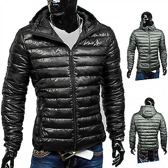 Men Quilted Jacket Tight Mobility jacket black transition jacket with hood