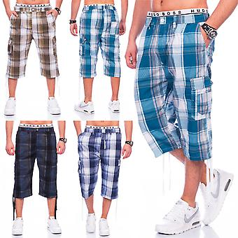 Men's Plaid shorts of Cargoshorts shorts stretch waistband cargo style shorts