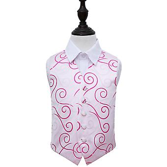 Ivory & Hot Pink Scroll Wedding Waistcoat for Boys