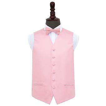 Baby Pink Plain Satin Wedding Waistcoat & Bow Tie Set