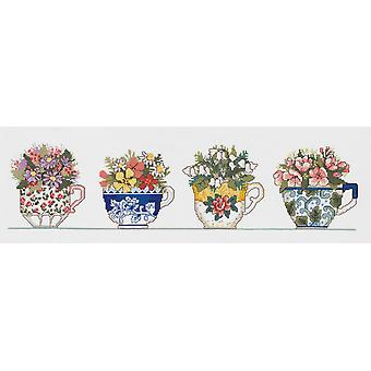 Row Of Teacups Counted Cross Stitch Kit-20