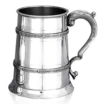 Celtic Double Band Pewter Tankard - 1 Pint