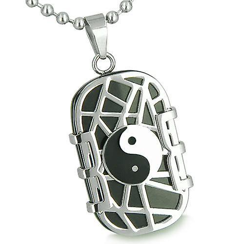 Amulet Cosmic Balance Energy Yin Yang Dog Tag Black Onyx Good Luck Charm Spiritual Pendant Necklace