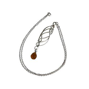 Ladies citrine necklace solid 925 Silver Brown of mobile trailer