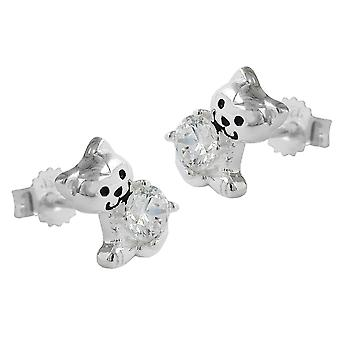 Ear studs with cubic zirconia 925 silver cat