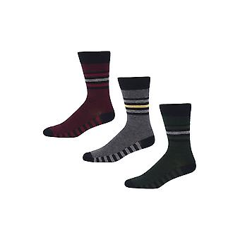 Ben Sherman Men's 3 Pack Everyday Calf Socks Navy Red Grey Stripey Pontet
