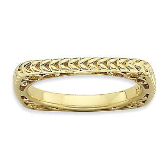 Stapelbare expressies van 2,25 mm zilver gepolijst goud-FlashedSquare Ring - Ringmaat: 5 tot en met 10