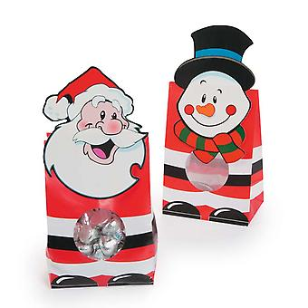12 Smiley Santa and Snowman Christmas Paper Treat Bags | Gift Wrap Supplies