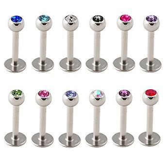 Labret Bar Stud, Ohr, Lippe, Tragus Piercing, Stein | Länge: 6-8 mm | 12 Farben