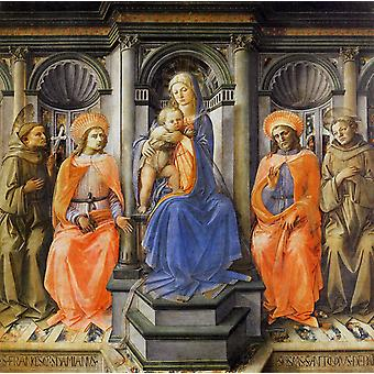 Madonna and Child Enthroned with Sts., Fra Filippo Lippi, 50x50cm