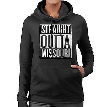 Texto blanco recto Outta Missouri nos dice sudadera con capucha de mujer