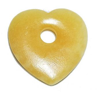 1 x Yellow Jade 45mm Heart Charm/Pendant GS10258