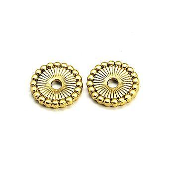 Packet 30 x Antique Gold Tibetan 12mm Flat Coin Beads HA15375
