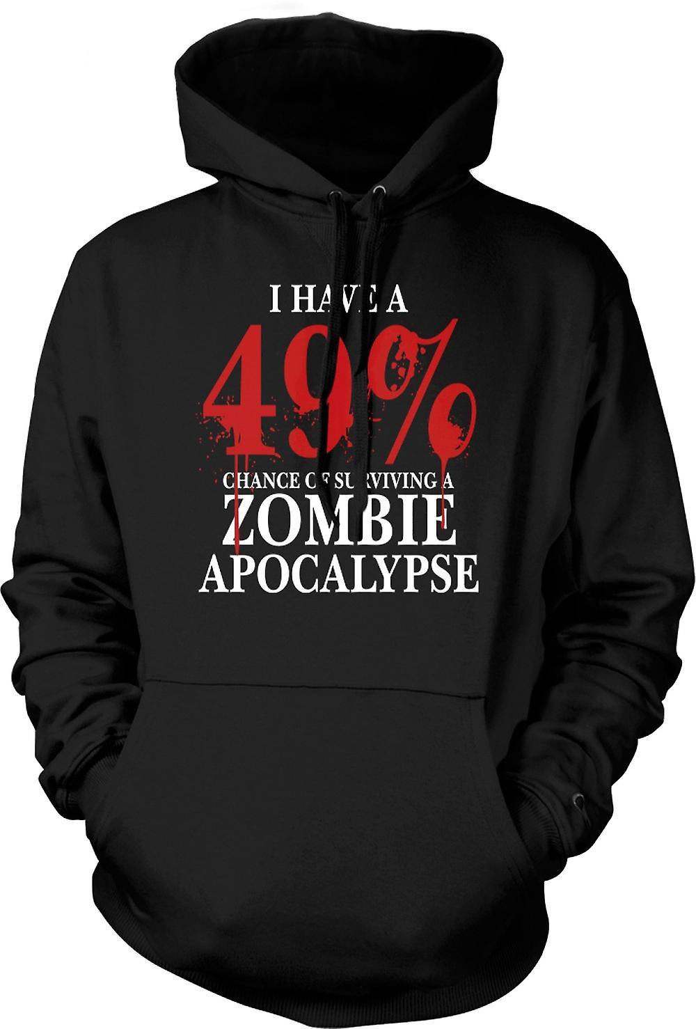 Mens hettegenser - Zombie Apocalypse 49% - Horror Funny