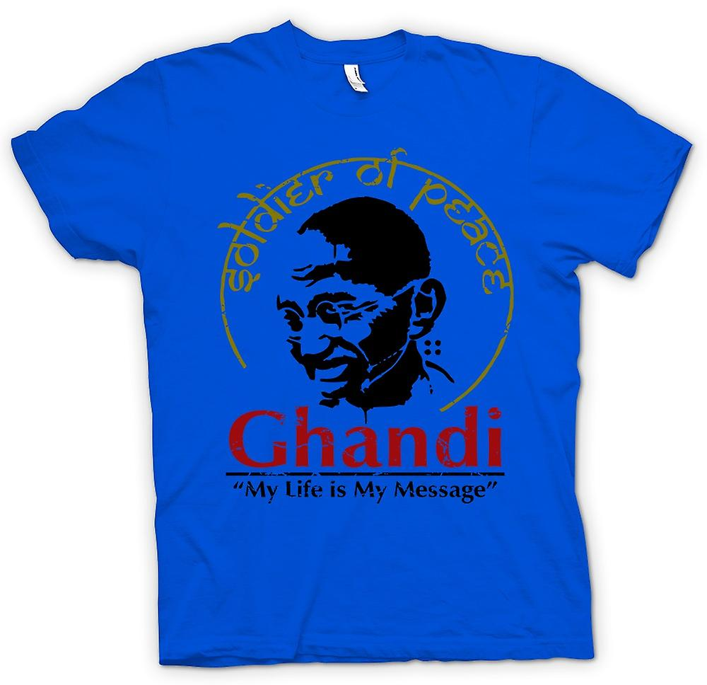 Mens t-shirt-Ghandi mia vita è la mia libertà di messaggio - India-
