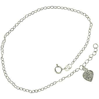 TOC Sterling Silver CZ Pave Heart Charm Anklet 9.5