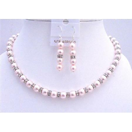 Pink Swarovski Pearls Jewelry Diamond Spacer Silver Rondells Earrings