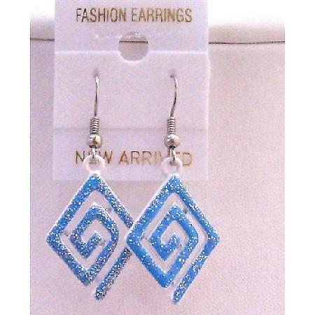 Blue Glitter Multi Diamond Shaped Blue Enamel Chandelier Earrings Gift
