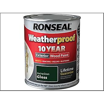 Ronseal Weatherproof 10 Year Exterior Wood Paint Racing Green Gloss 750ml