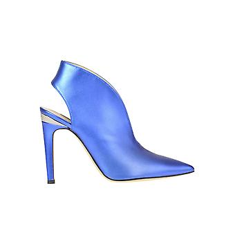 Pinko Blue Leather Ankle Boots