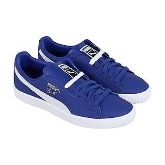 Puma Clyde kjerne Mens blå skinn lav toppen snøre Sneakers sko