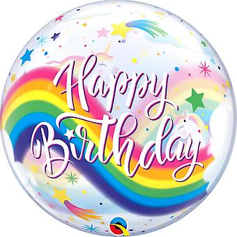Qualatex 22 Inch Birthday Rainbow Unicorns Bubble Balloon