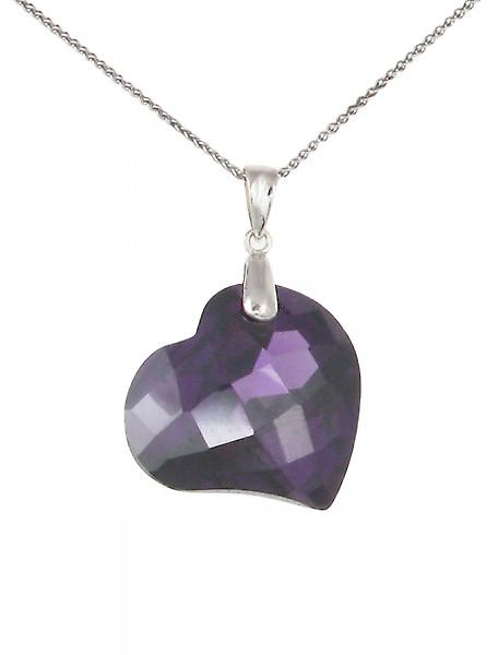Cavendish French Amethyst CZ Heart Pendant